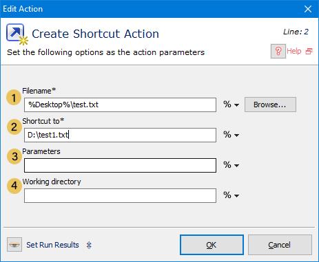 اکشن create-shortcut