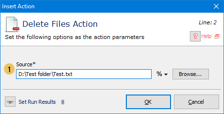Delete Files Action