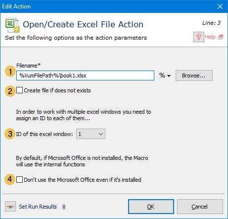 اکشن Open / Create Excel File