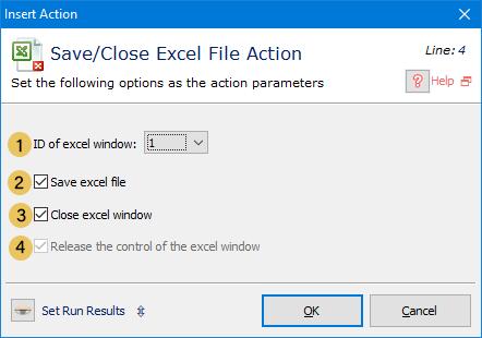 اکشن Save / Close Excel File