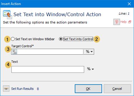 اکشن Set Text into Window/Control