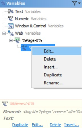 Edit Web Variables in the Editor Application