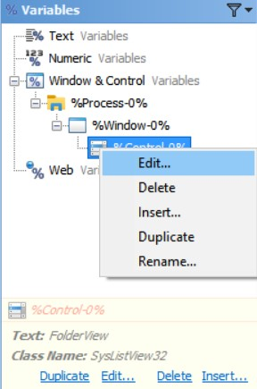Edit Window & Control Variables in the Editor Application