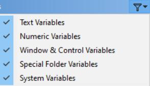 نمایش و عدم نمایش انواع کلی متغیرها در برنامه ویراستار
