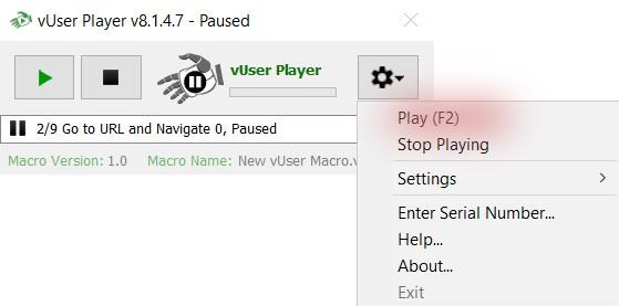 pause/play submenu of the Player application