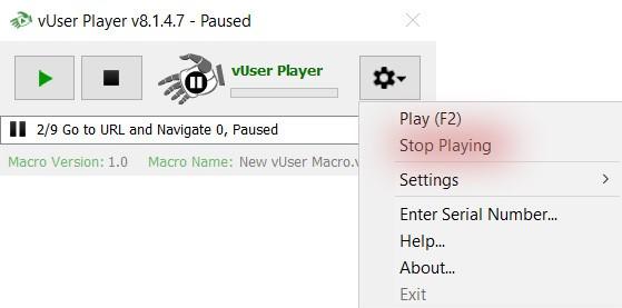 stop menu item of the Player application