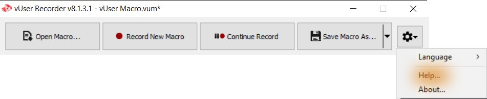 help menu item of the Recorder application