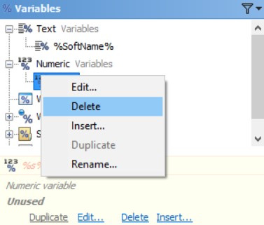 Delete Numeric Variables in the Editor Application