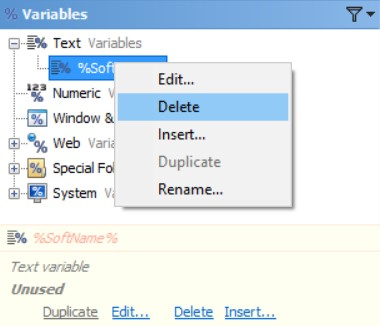 Delete Text Variables in the Editor Application