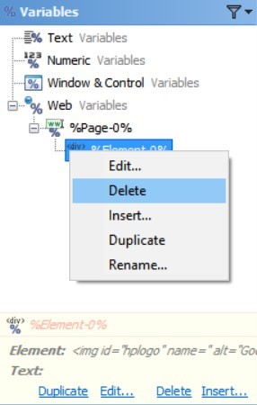 Delete Web Variables in the Editor Application