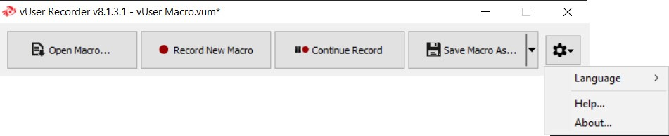 settings button in the recorder window