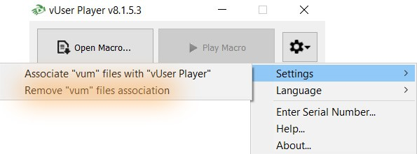 Associating VUM files with the Player Application