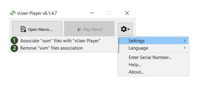 The Player Application Settings