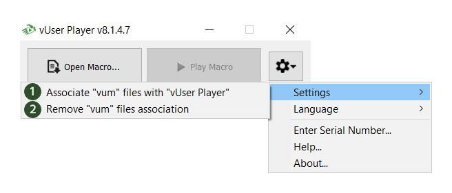 Associating VUM files with the Player Application