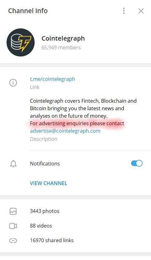 Telegram channel bio section